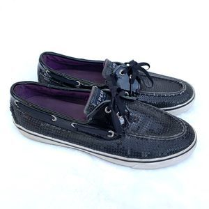 Sperry Black Sequin Lace Up Loafers Shoes